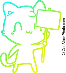 pendenza, disegno, linea, gatto, vuoto, freddo, segno, cartone animato, felice