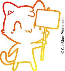 pendenza, disegno, segno, riscaldare, vuoto, linea, gatto, cartone animato, felice