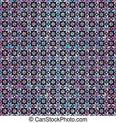 pendenza, modello, seamless, blue-pink, sfondo nero, floreale, geometrico
