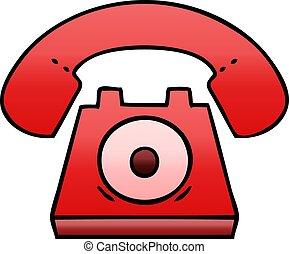 pendenza, ombreggiato, cartone animato, telefono rosso