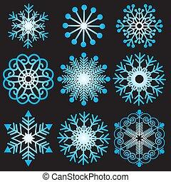 pendenza, set, fiocchi neve