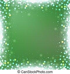 pendenza, verde, quadrato, fondo, con, bokeh, bordo