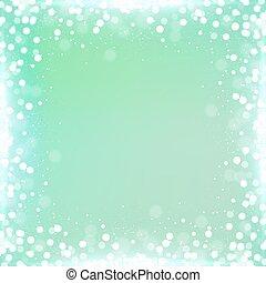 pendenza, zecca verde, quadrato, fondo, con, bokeh, bordo