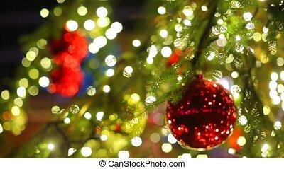 pendre, closeup, balle, rouges, arbre., noël