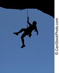 pendre, femme, silhouette, grimpeur, rocher