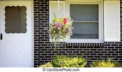 pendre, fleur, et, portes