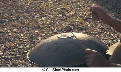 pendre, hang., tambour, instrument musique