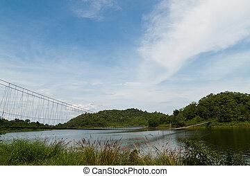 pendre, pont, dans, les, forêt