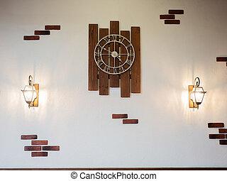 pendre, retro, mur, rond, métal, horloge