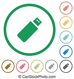 Pendrive outlined flat icons