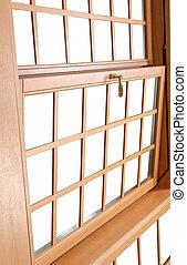 pendu, traditionnel, fenêtre., double, fenetres, bois, américain