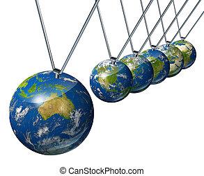 pendule, à, australie, et, économie mondiale