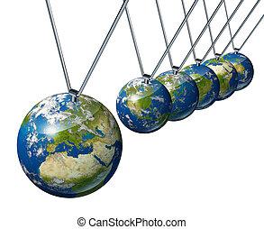 pendule, à, globe europe, affecting, économie mondiale