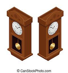 Pendulum clock. Elegant roman numeral clock. Elegant antique clock. Flat 3d Vector illustration.