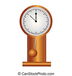 pendulum clock on white background