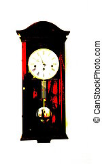Pendulum Clock - Posterized view of wooden clock with ...