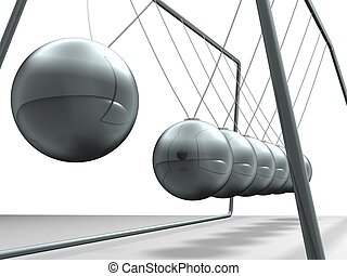 pendulum  - Close up of Newton\'s cradle - 3d render