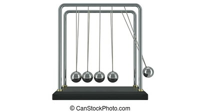 Pendulum, Newton's cradle in motion. 3D rendering isolated on white background