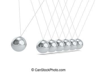 Pendulum. - Newtons cradle White floor. Steel Balls.