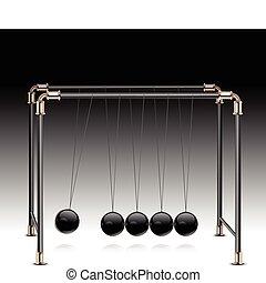 Pendulum on black - Pendulum, balancing balls Newton's...
