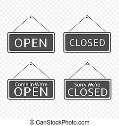 penduradas, abertos, sinal fechado