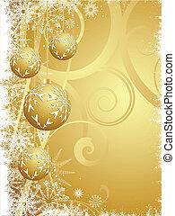 penduradas, baubles, ouro, natal