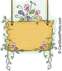 penduradas, em branco, madeira, signboard, com, flor,...
