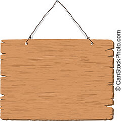 penduradas, em branco, madeira, sinal