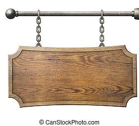 penduradas, madeira, isolado, corrente, sinal