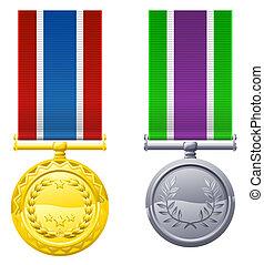 penduradas, medalhas, e, fitas