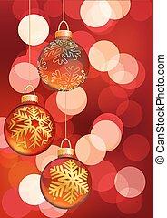 penduradas, natal, balls., vetorial, ilustração