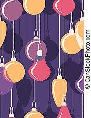 penduradas, natal, bals., seamless., vetorial, ilustração