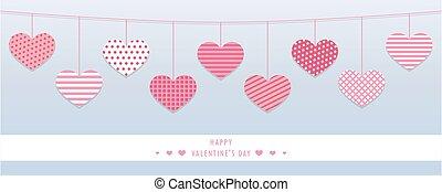 penduradas, padrão, vermelho, valentines, corações, ...