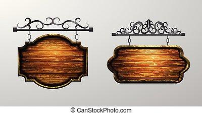 penduradas, tábua madeira, vetorial, madeira, objeto, para,...