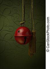 penduradas, vermelho, sino, com, ouro, corda