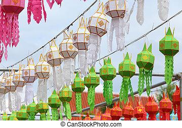 peng, festival, yee, lykta, dekoration, thailand