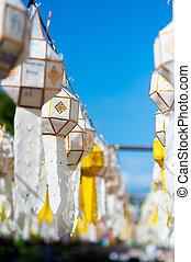 peng, festival, yee, lykta, dekoration, thailand, lykta