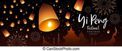 peng, lanterne, bannière, krathong, festival, loy, thaïlande, flotter, yi