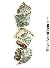 pengar, över, gräns, vit