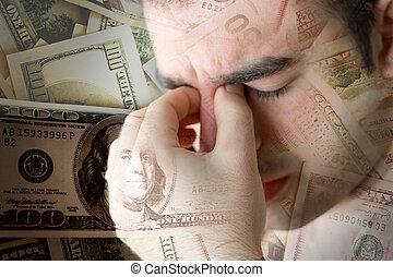 pengar, över, stressa