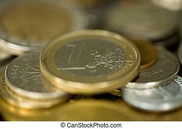 pengar, 015, mynt, 1, euro, centrera, i fokus