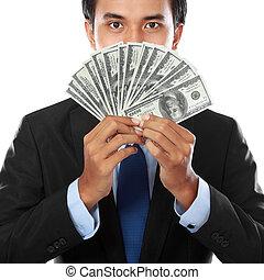 pengar, affär, holdingen, man