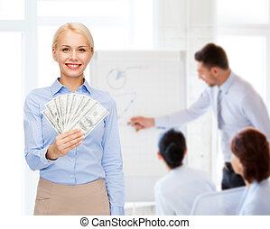 pengar, affärskvinna, dollar, ung, kontanter