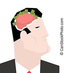 pengar., affärsman, huvud, tänker, brain., profits., affär, ...
