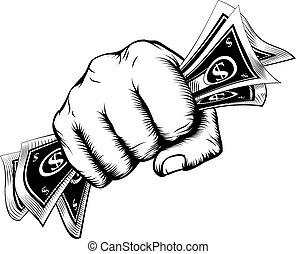 pengar, begrepp, näve, holdingen