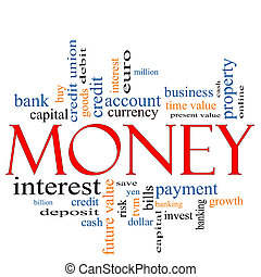 pengar, begrepp, ord, moln
