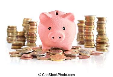 pengar, besparing, på, euro, och, pengar