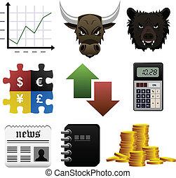 pengar, block, finans, marknaden, ikon