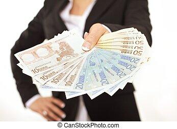 pengar, businessperson, erbjudande, muta
