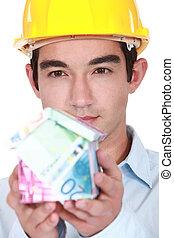 pengar, byggmästare, gjord, hus